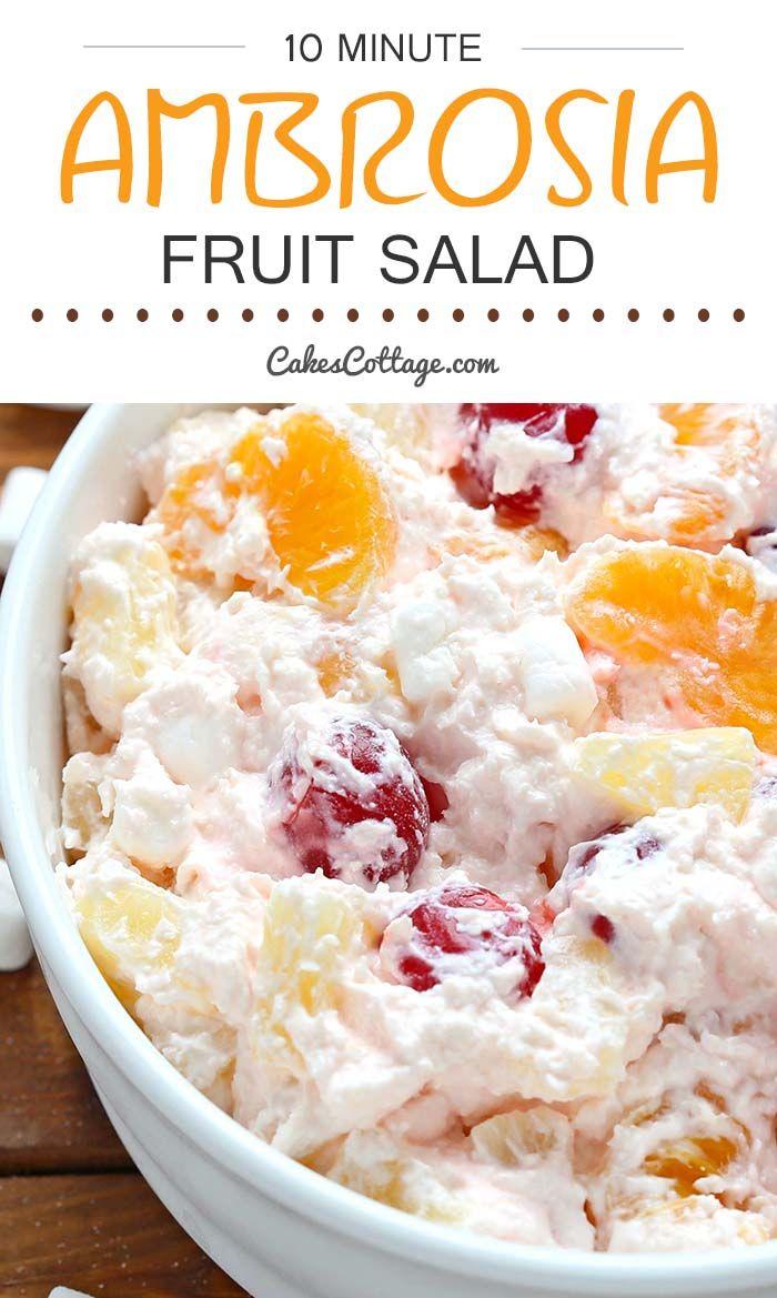 Ambrosia Salad Cakescottage Fruit Salad Recipes Ambrosia Salad Dessert Salads