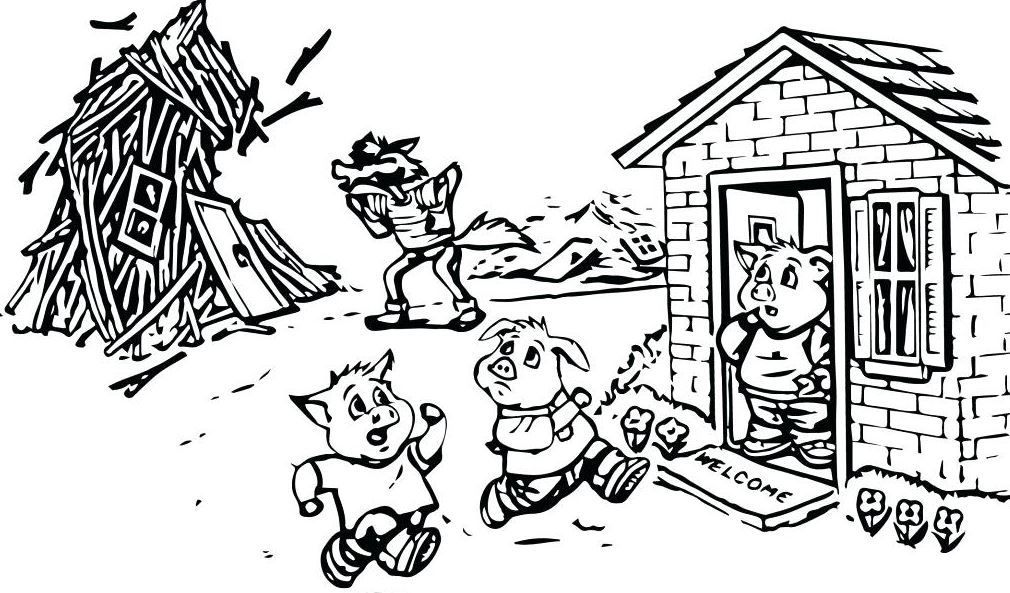 Three Little Pigs Coloring Page Hd Coloring Pages Mermaid Coloring Pages School Coloring Pages