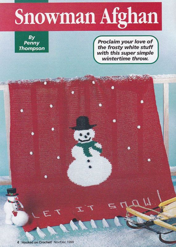 Christmas Afghan Crochet Patterns - Snowman or Snowflakes - Hooked ...