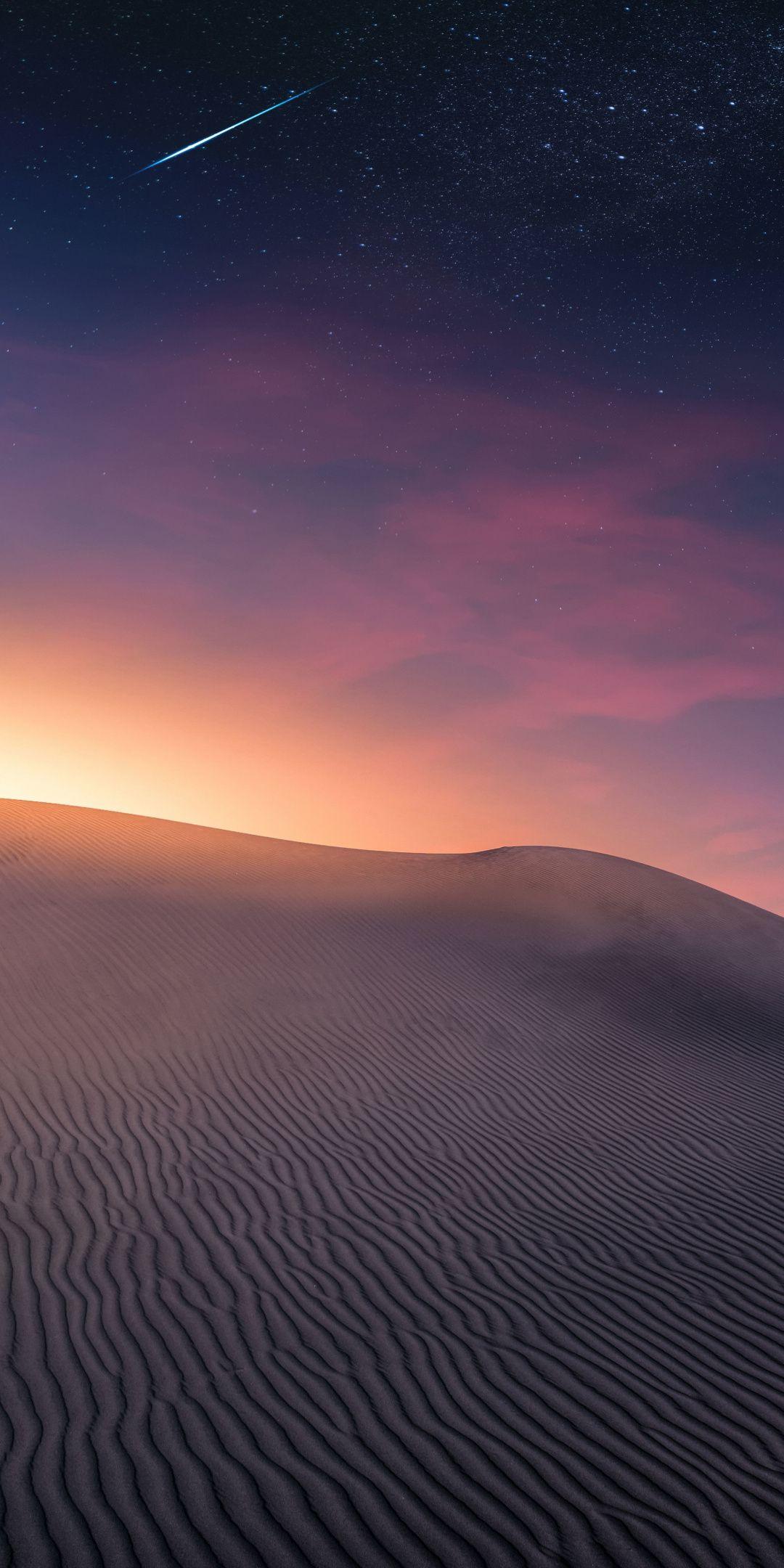Night, desert, sky, starry sky, 1080x2160 wallpaper