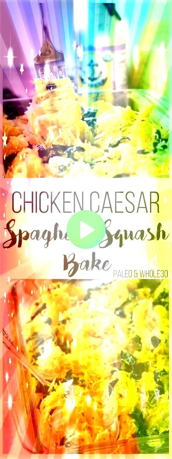 EATING  CHICKEN CAESAR SPAGHETTI SQUASH BAKE is Tasty and Yumm Just CLICK THE LINK to SEE THE COMPLETE RECIPES and step by step instructionThis CLEAN EATING  CHICKEN CAES...