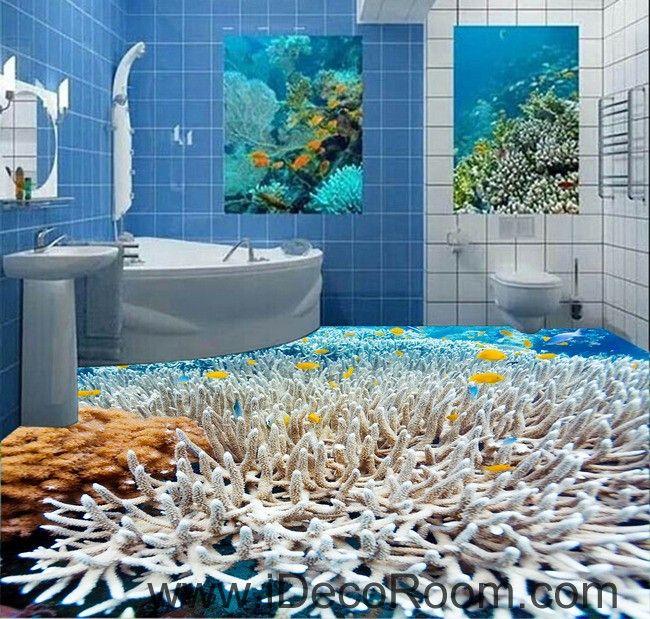 Beibehang Biological Coral Waterproof Bathroom Floor Painting Kitchen  Balcony PVC Wall Paper Self Floor Mural Wall Sticker