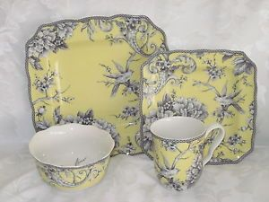 222 FIFTH ADELAIDE YELLOW FRENCH TOILE BIRD 24 PC DINNERWARE SERV 6 -12 NEW & 222 fifth adelaide yellow french toile bird 24 pc dinnerware serv 6 ...