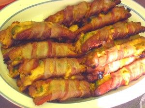 So I just made these. Bacon wrapped, jalapeno, cheese and pepperoni stuffed hot dogs.