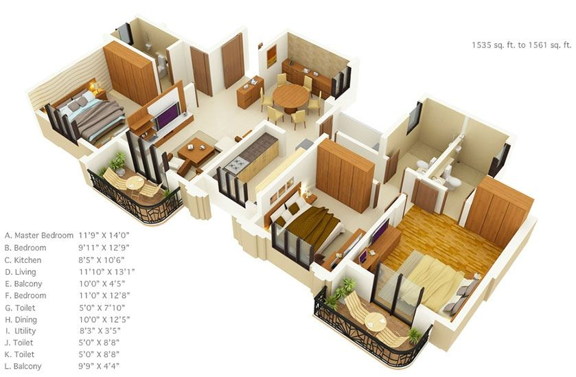 50 three 3 bedroom apartmenthouse plans - 3 Bedroom House Floor Plan