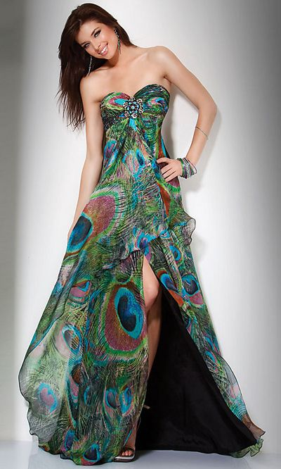 2a21832dd6b Peacock Feather Print Strapless Dress at Everything Clothes. Pretty as a  peacock