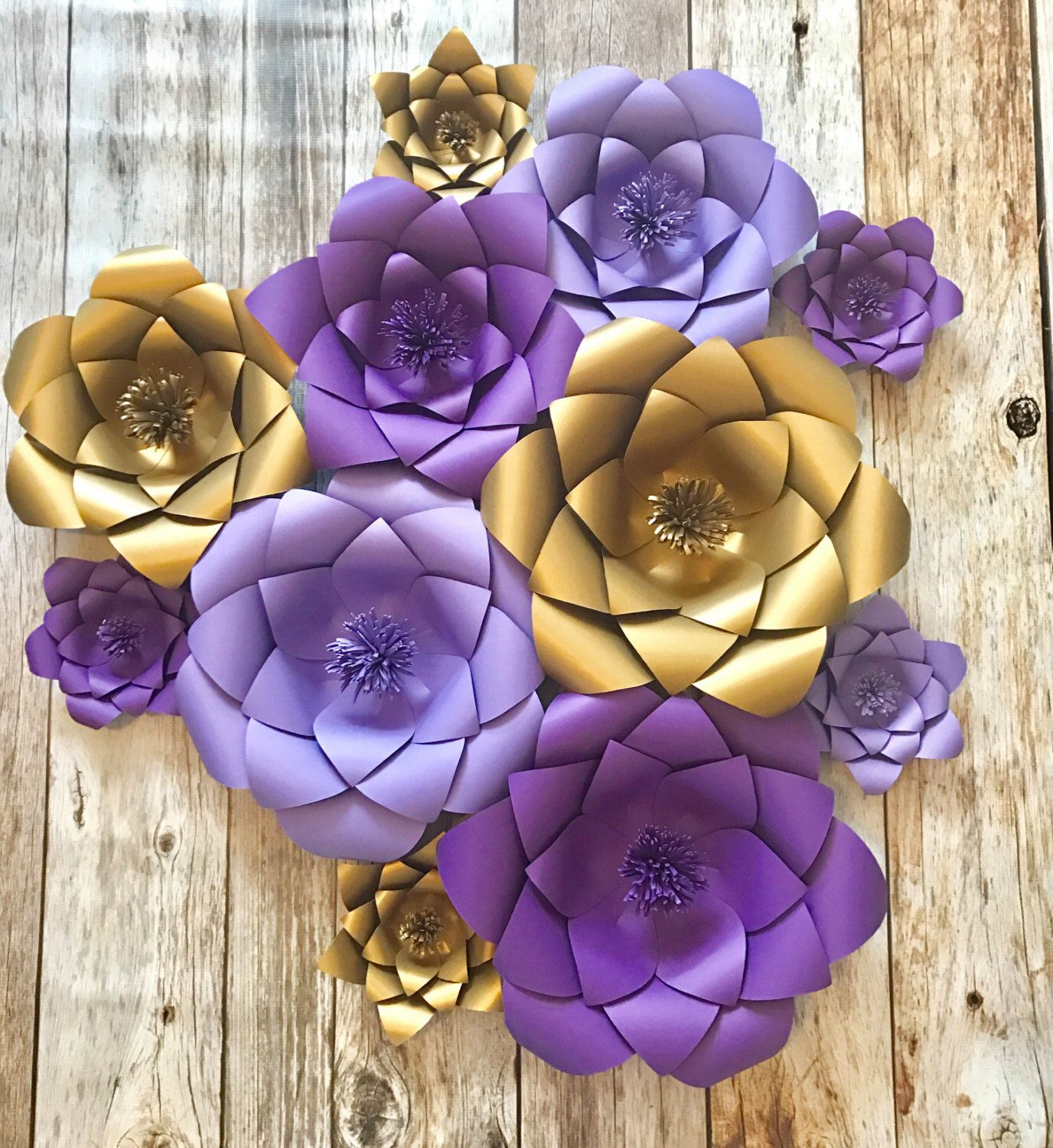 Purple and gold Paper flowers wedding backdrop baby room bridal