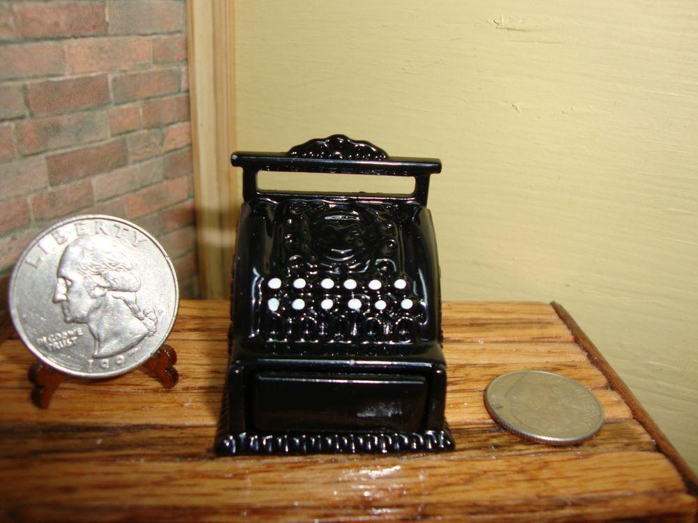 Dollhouse Miniature Accessories Vintage Metal Cash Register Furniture Tn