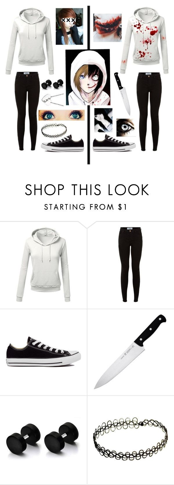 """Jeff The Killer"" by gryffindorgirl-i ❤ liked on Polyvore featuring J.TOMSON, Converse, J.A. Henckels, Marc by Marc Jacobs, women's clothing, women's fashion, women, female, woman and misses"