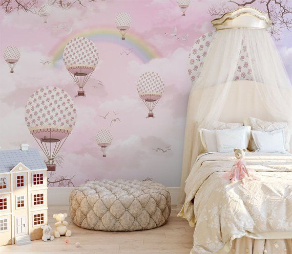 Pink Sky With Rainbow Wallpaper For Girls Bedroom Removable