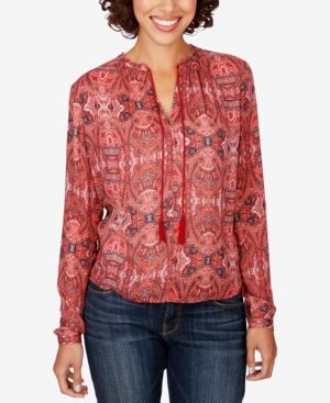 Lucky Brand High-Low Peasant Top - Red Multi