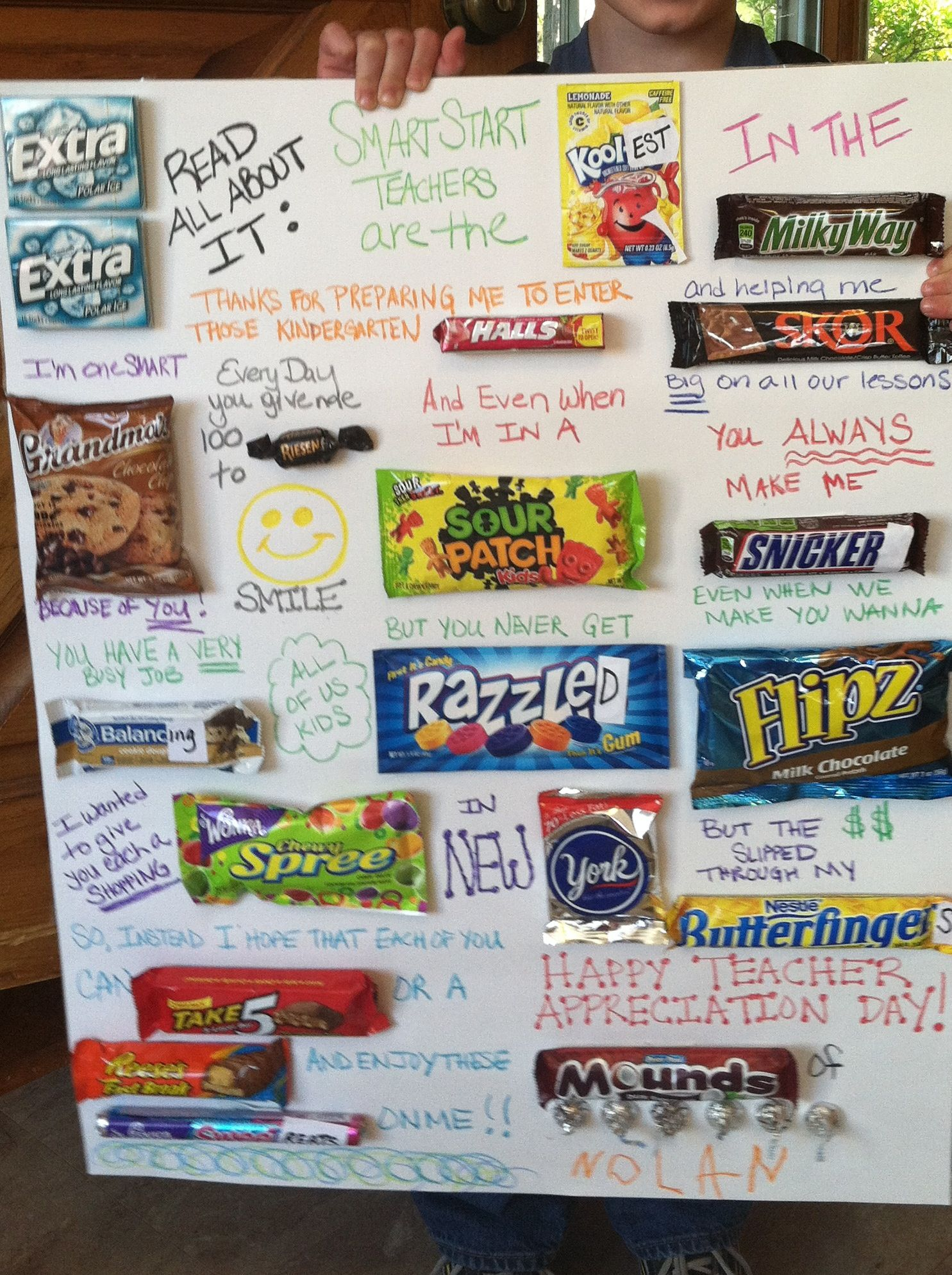 Candy Card for Teacher Appreciation Day! In preschool the ...