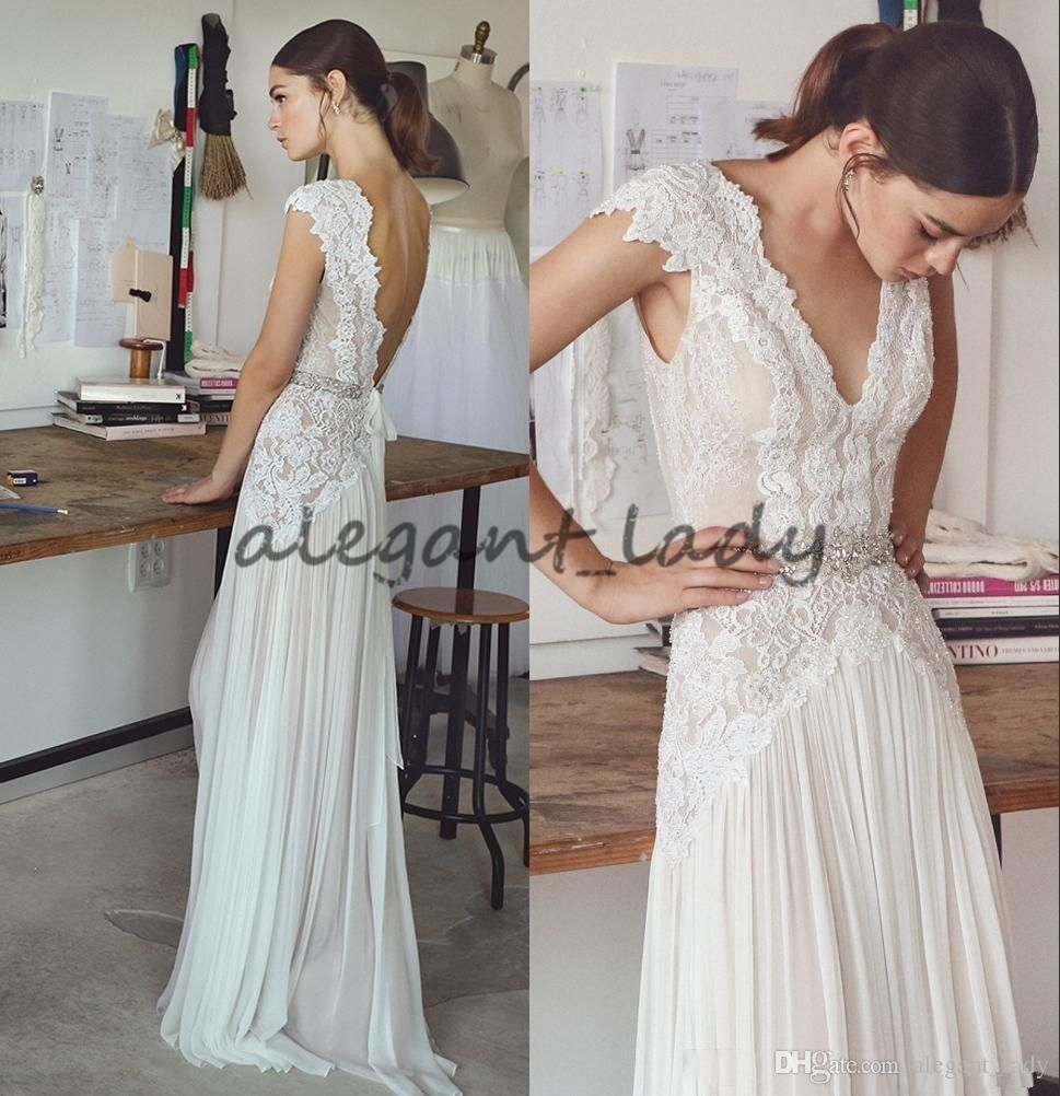 Boho wedding dresses lihi hod bohemian bridal gowns with cap