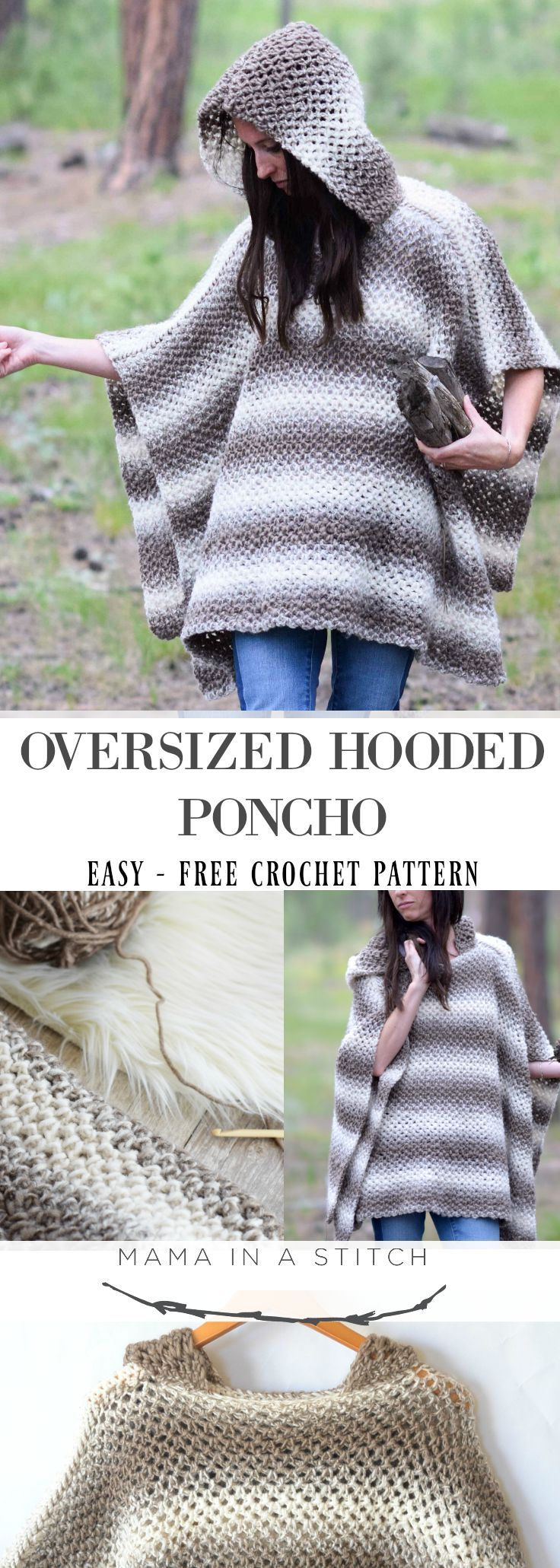 Driftwood Oversized Crochet Hooded Poncho Pattern   tejidos ...