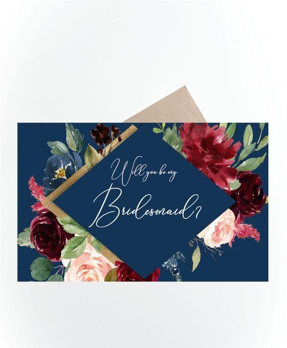 Bridesmaid Card, Printable Will You Be My Bridesmaid Card