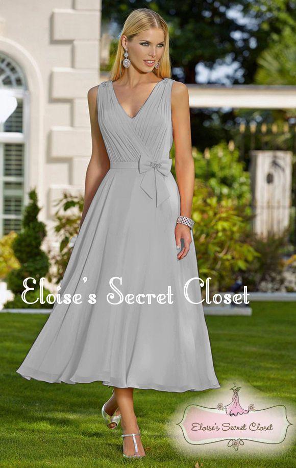 JOLIE Silver Grey Chiffon Tea Length Prom Bridesmaid Occasion ...