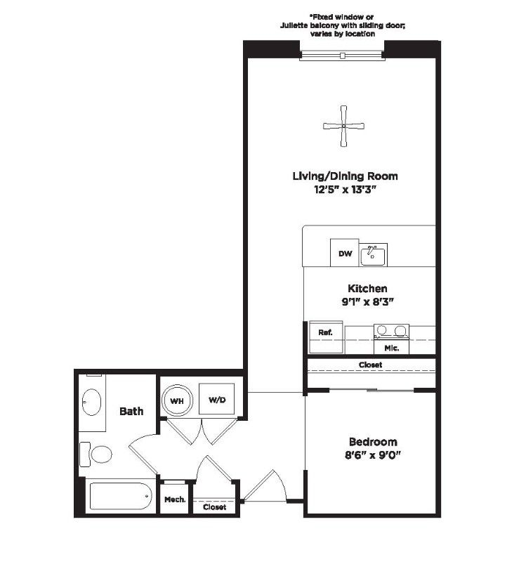 Studio Apartment 566 Sq Ft 800carlyle Basement Remodeling Floor Plans Apartment