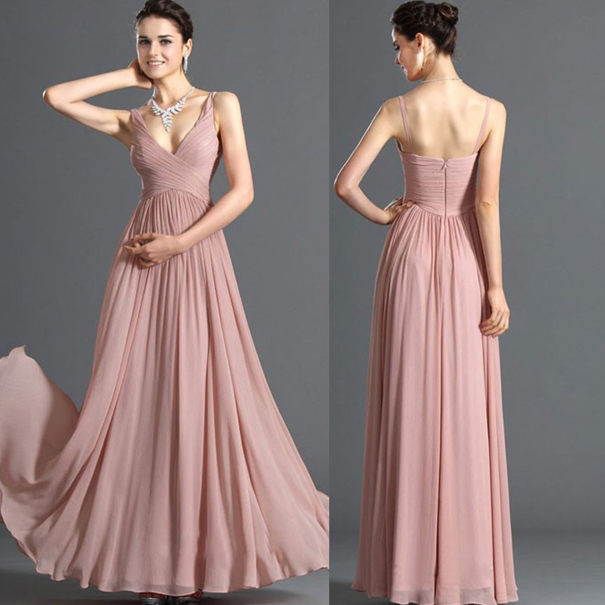 Vintage elegant spaghetti strap long formal dress bride evening ...