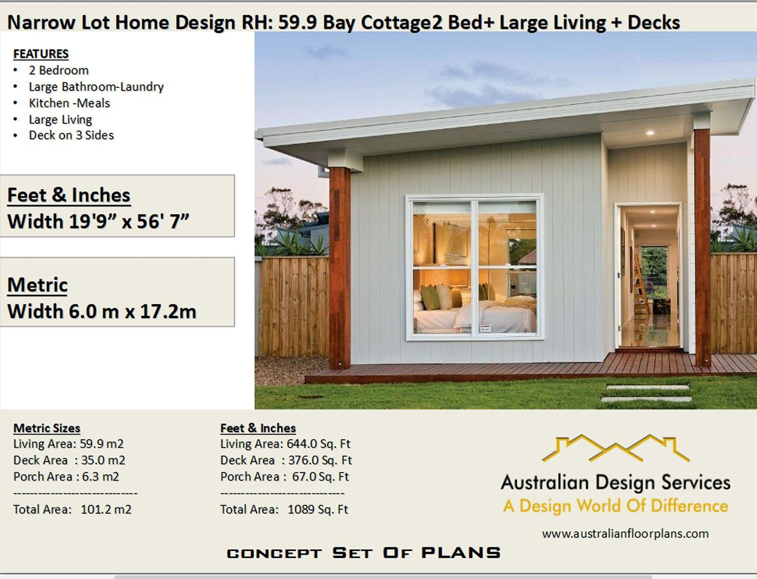 59 9 Bay Cottage 645 Sq Feet Or 59 9 M2 2 Bedroom 2 Bed Granny Flat Concept House Plans For Sale Under 1000 Sq Foot House Plans House Plans For Sale Cottage House Plans House Plans