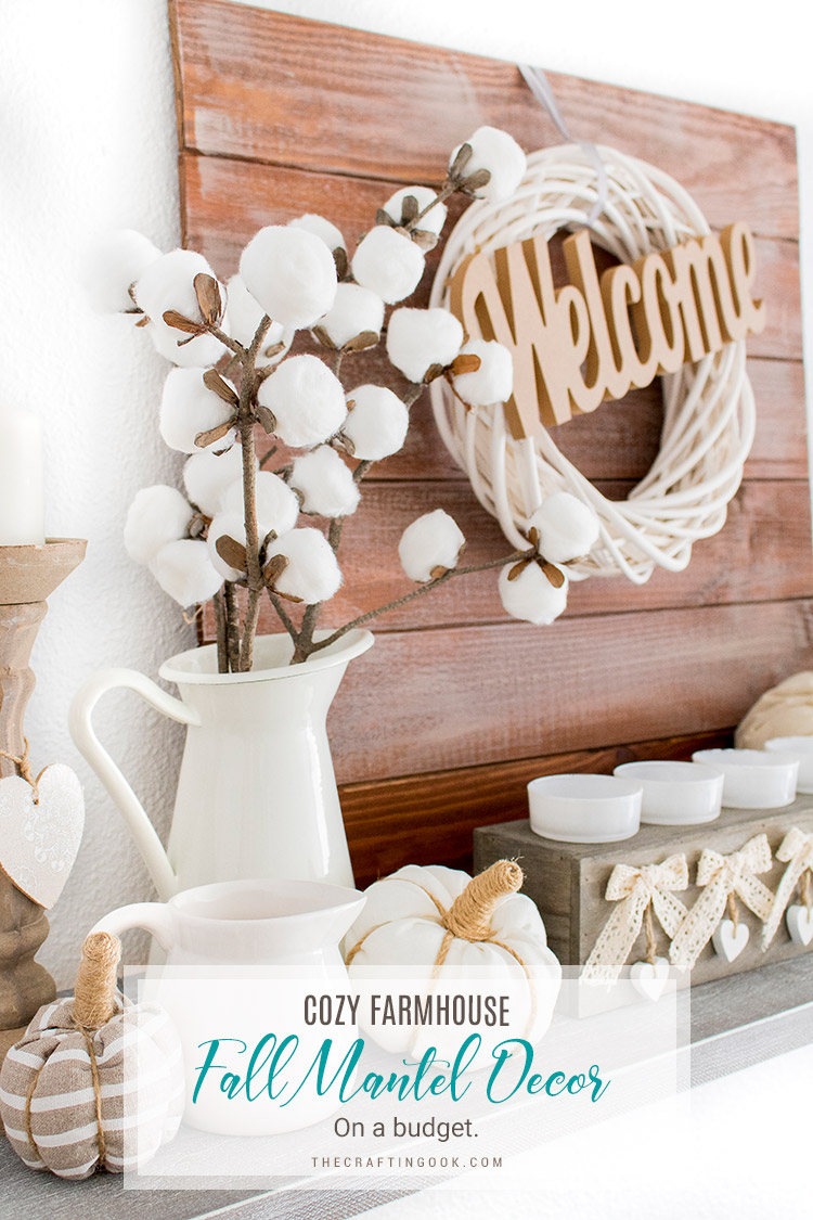 A simple yet pretty and cozy fall mantel decor to celebrate and welcome Autumn at home. Easy ideas to make it gorgeous and inviting this year. #falldecor #fallmantel #mantelideas #cottonbranches #fauxcottonstems #rusticfallmantel #fallmanteldecor #fallmanteldecoration #falldecoration #rusticfalldecor #rusticfalldecoration #farmhousedecor #farmhousedecoration