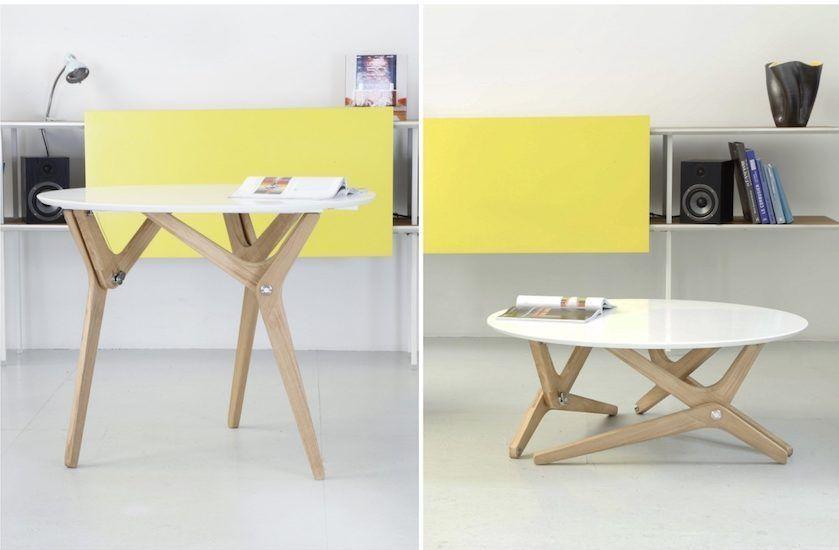 Table Transformable Design De Boulon Blanc Clem Around The Corner Table Transformable Table Salle A Manger Table Basse Convertible
