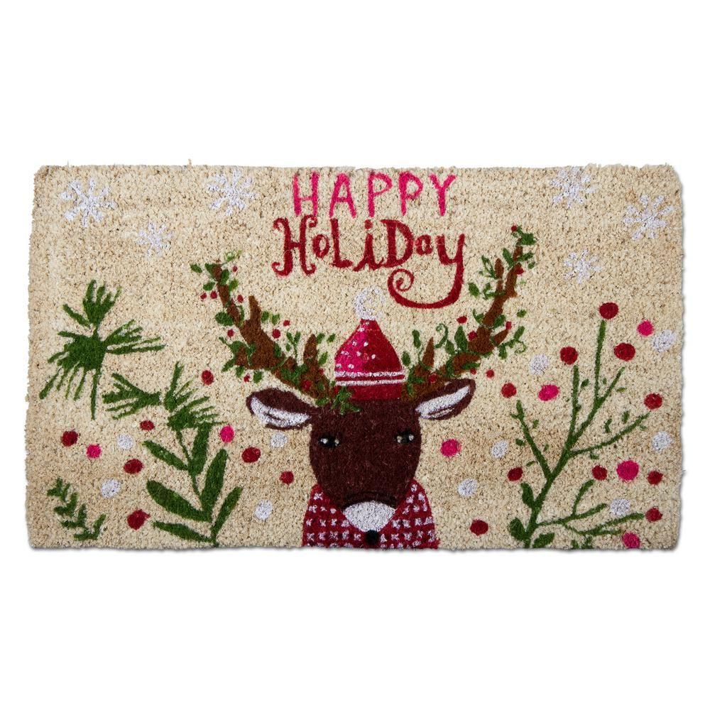 Happy holiday deer 18 in x 30 in coir door mat brownstans coir door mat brownstans kristyandbryce Images