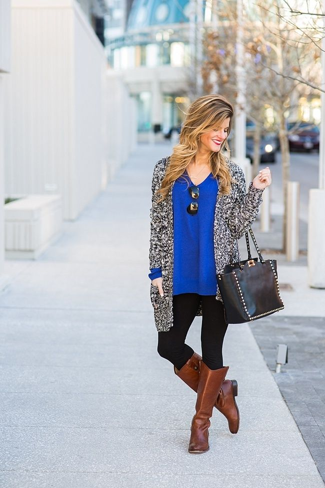 d196eccfa4 Cobalt Blue Sweater, Black leggings with brown boots | Ilike style