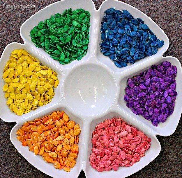 bilder aus kuerbiskernen mit kindern basteln, mit kürbiskernen in verschiedenen farben können deine kinder tolle, Design ideen