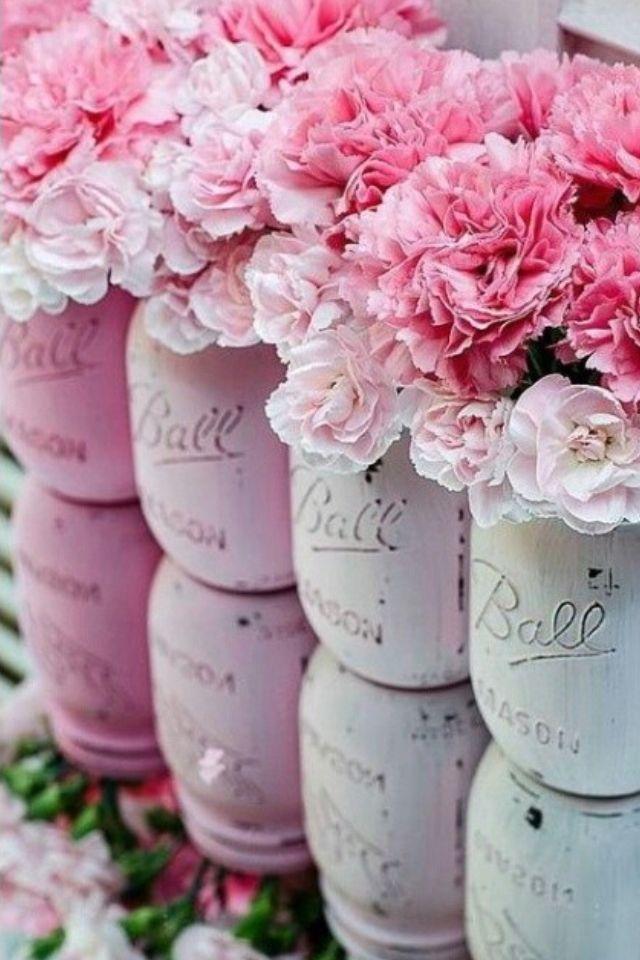Painted mason jars used as vases   all things PINK   Pinterest   Jar on pinterest tin can vases, pinterest crafts vases, fall mason jar vases,