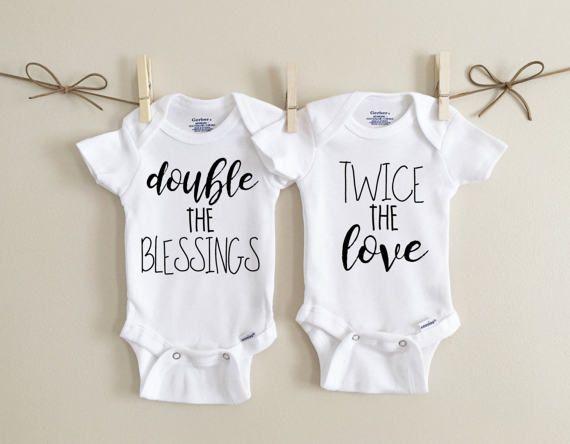 Twin Baby bodysuits /& bibs Various design options