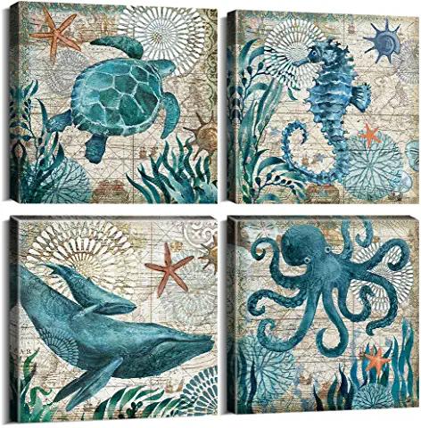 Yoooahu Cactus Decor Bathroom Canvas Prints Wall Art Green Tropical Desert Fleshy Plant Watercolor Paintings Hand