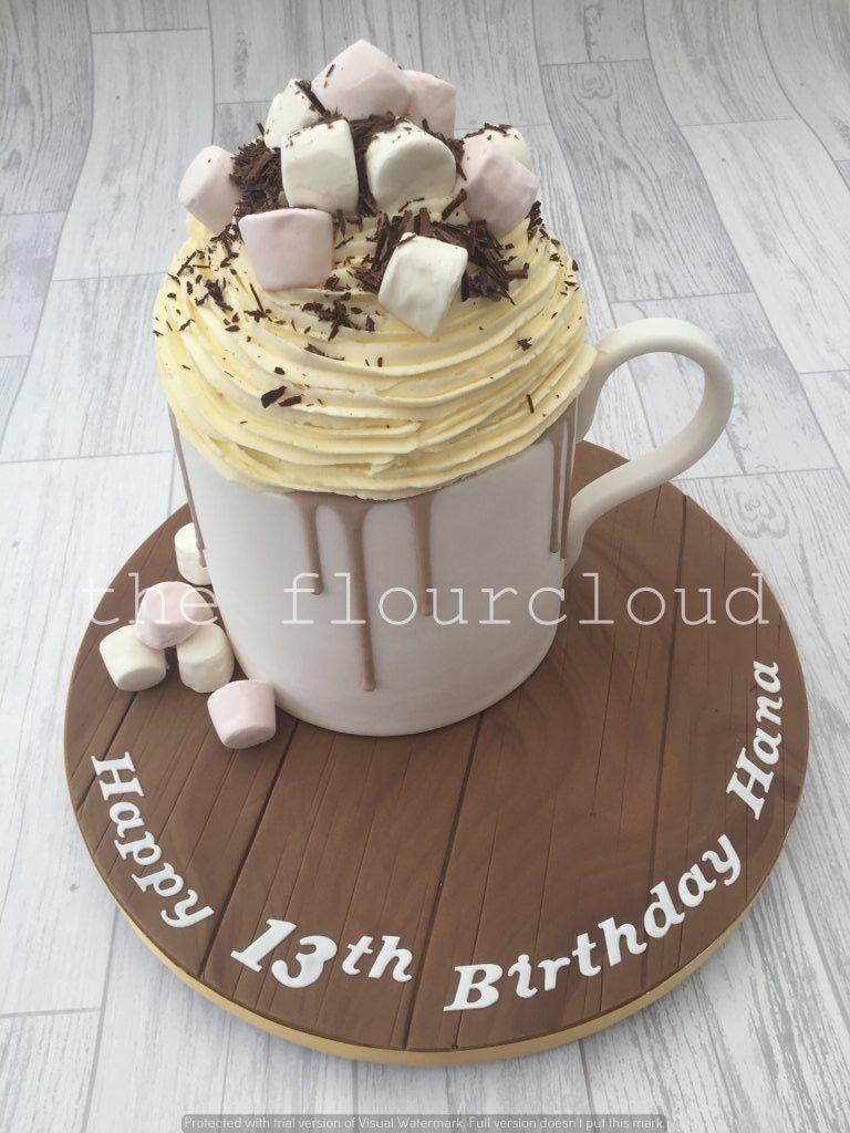 Hot chocolate with cream and marshmallows birthday cake sugar