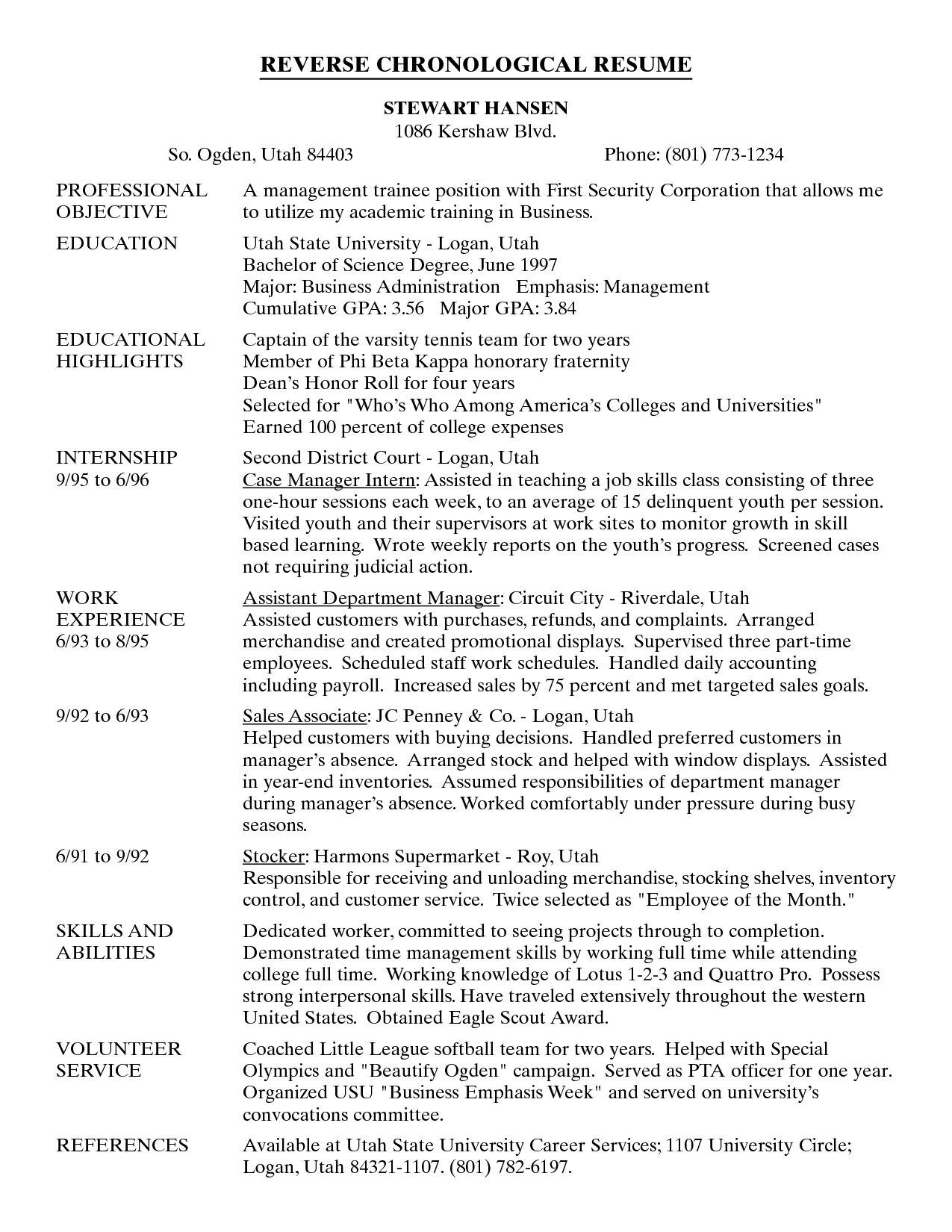Chronological Order Resume Example Dc0364f86 The Reverse Chronological  Resume Example  Chronological Resume Examples