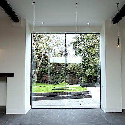 rahmenlos Design Schiebetür Einfamilienhaus Pinterest - interieur mit holz lamellen haus design bilder