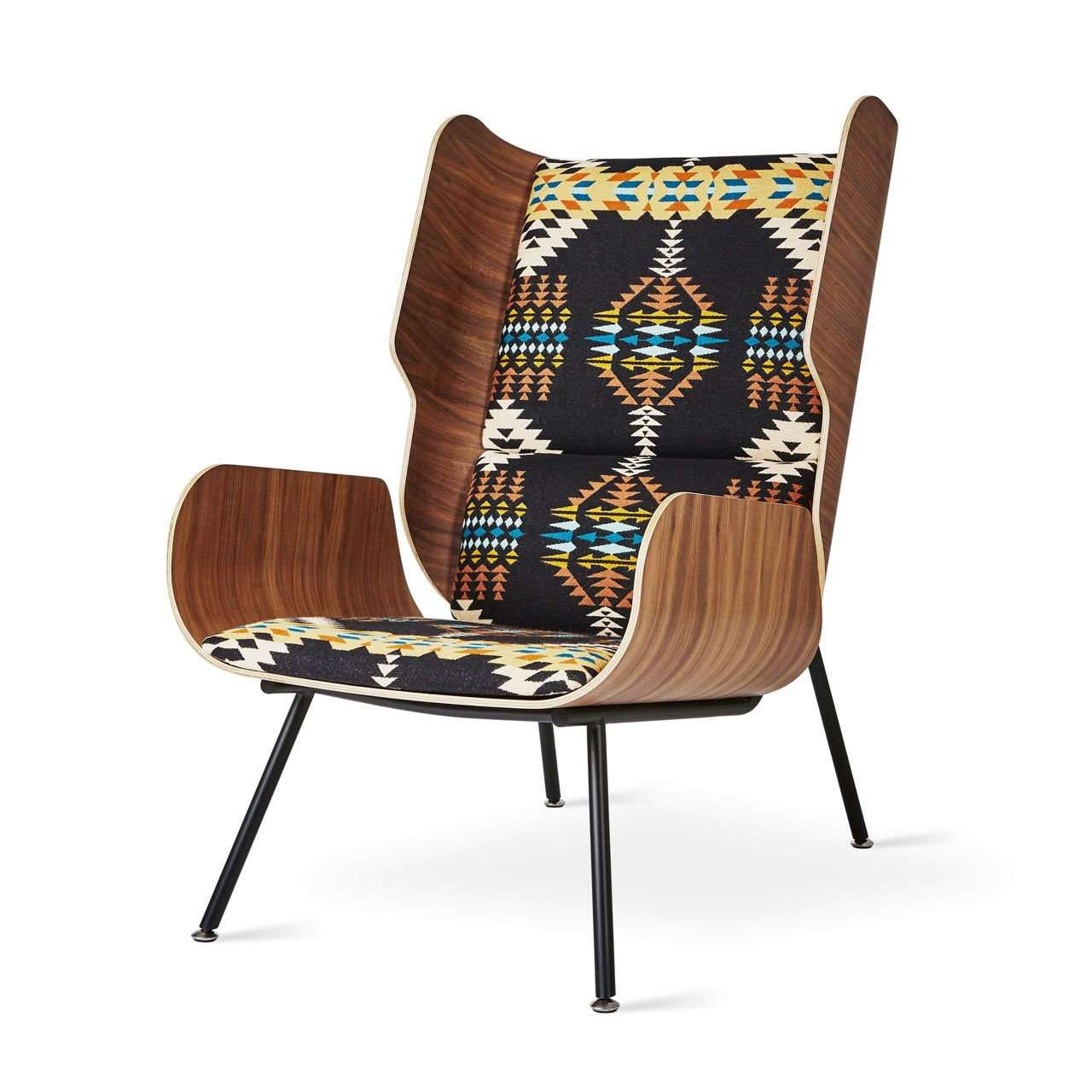 Modern furniture company gus modern has teamed up with textile brand pendleton woolen mills on a limited edition trio of lounge chairs