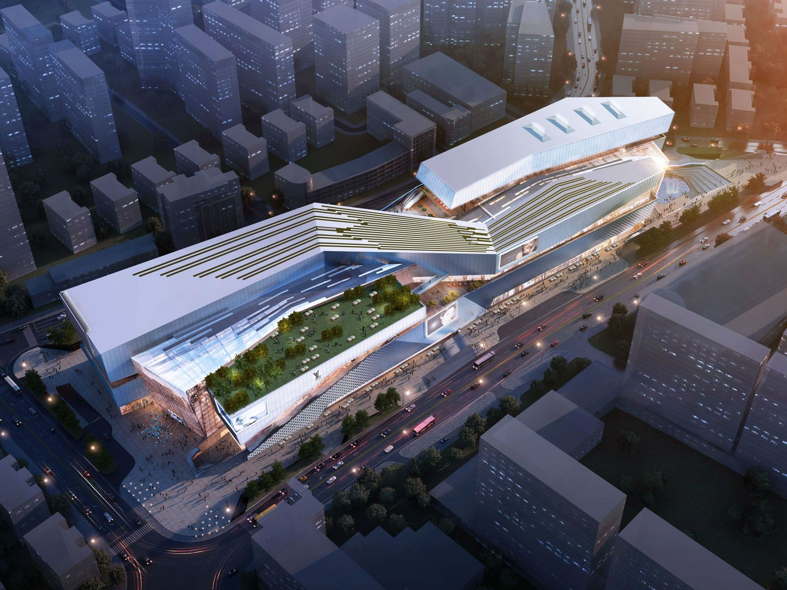 Urban living plaza in yiwu aedas for Modern retail building design
