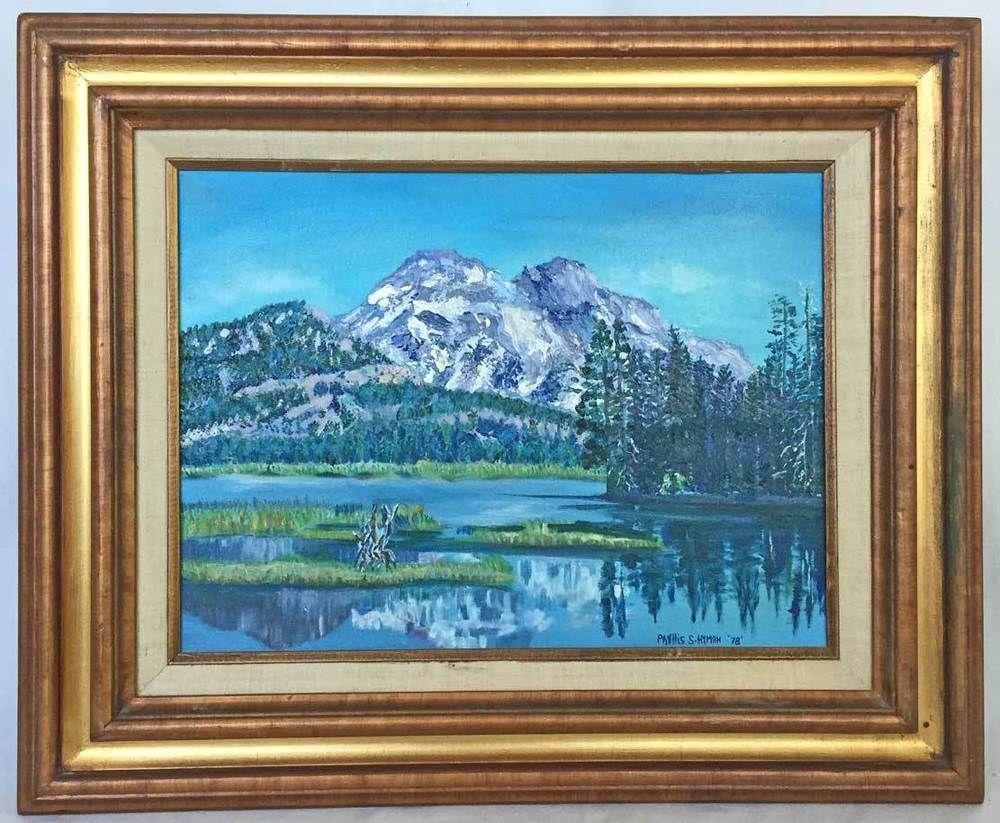 Western Folk Art Vintage Original Painting River Rural