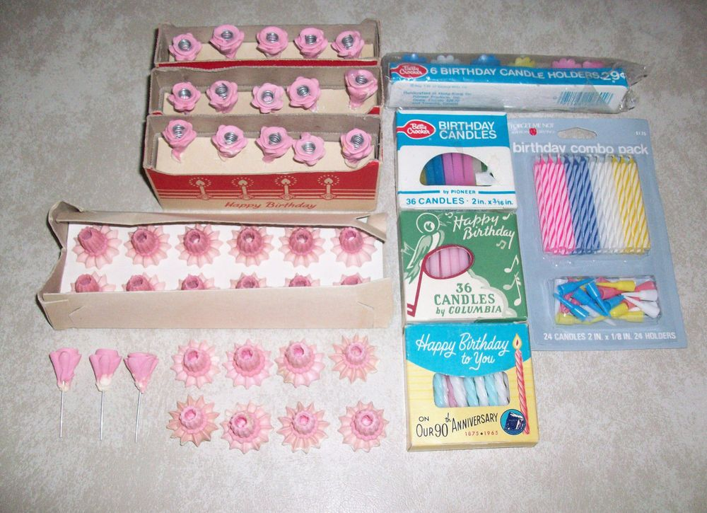 VINTAGE BIRTHDAY CANDLES IN BOXES CANDY PLASTIC CANDLE HOLDERS BettyCrockeretc Birthday