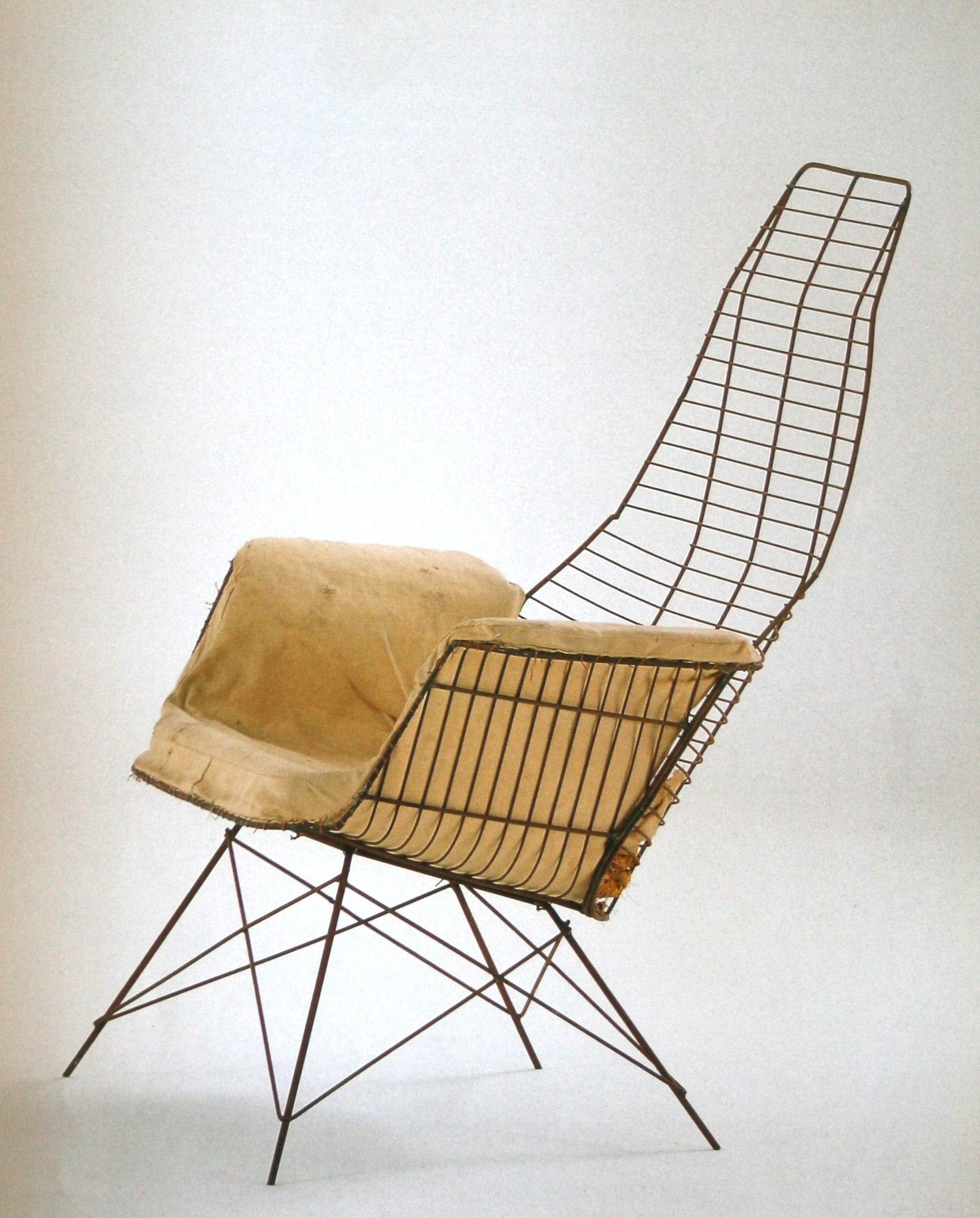 Charles and Ray Eames Enameled Metal Experimental Chair 1951