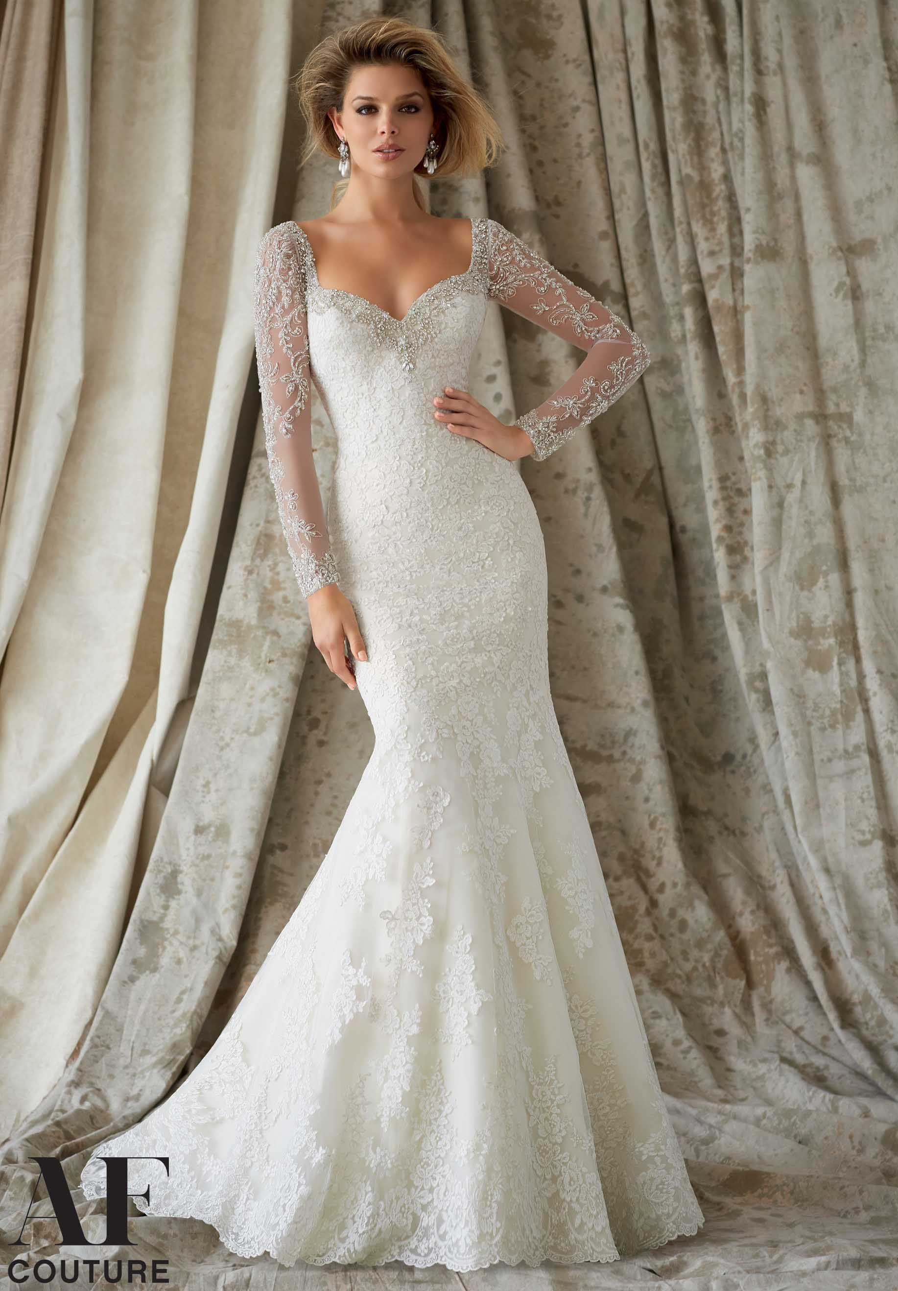 Wedding Gowns By AF Couture featuring Embroidered Lace Appliques on ...
