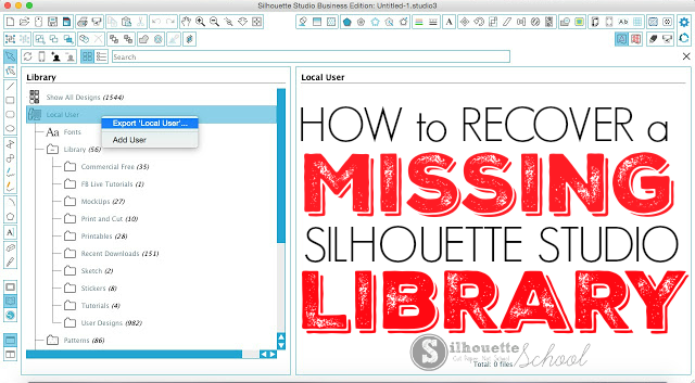 Silhouette Studio Library Missing: How to Get It Back | Beginner
