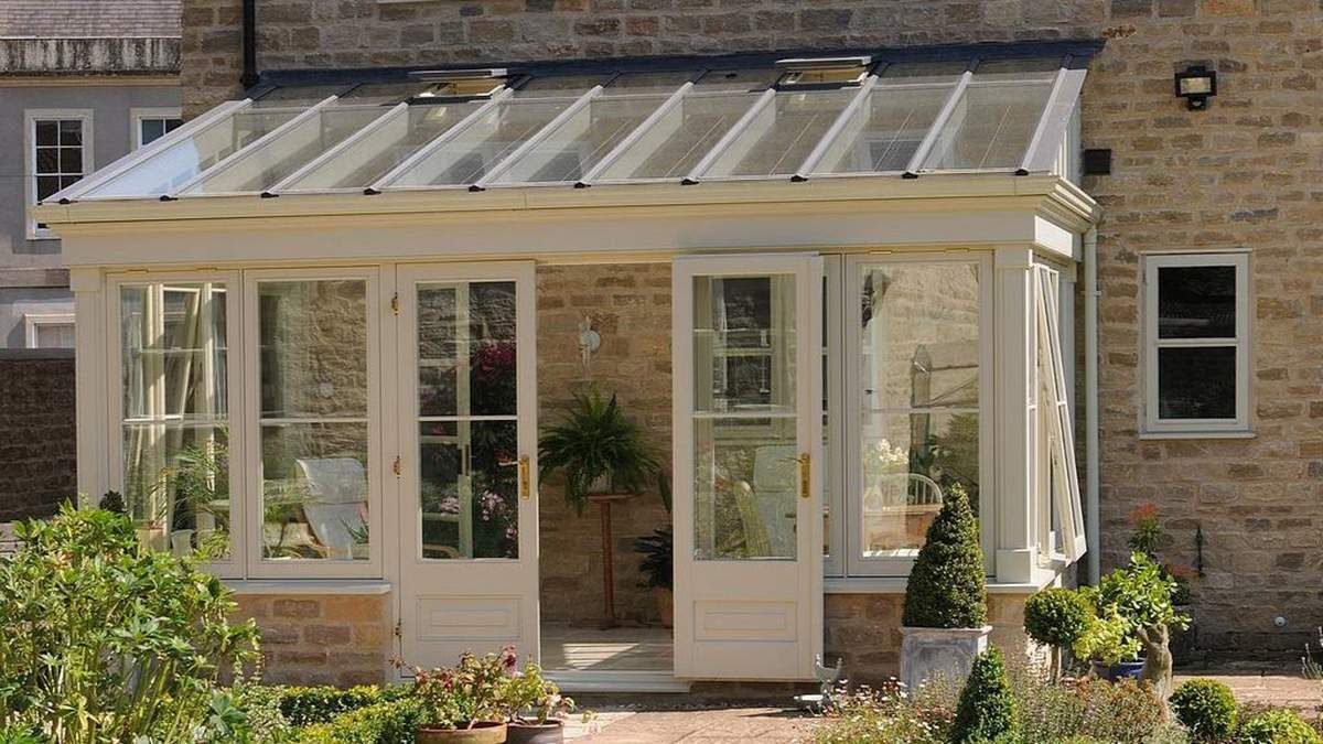 Lean to sunroom porch with metal roof conservatory