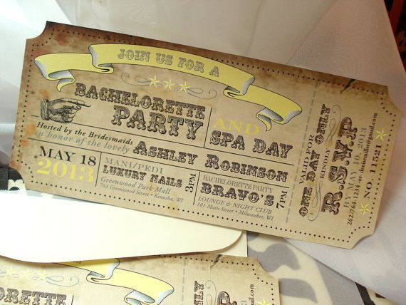 Vintage Carnival Ticket Bachelorette Party or Bridal Shower – Vintage Bachelorette Party Invitations