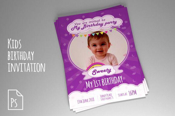 Kids Birthday Invitation PSD Creativework247 Invitation Cards