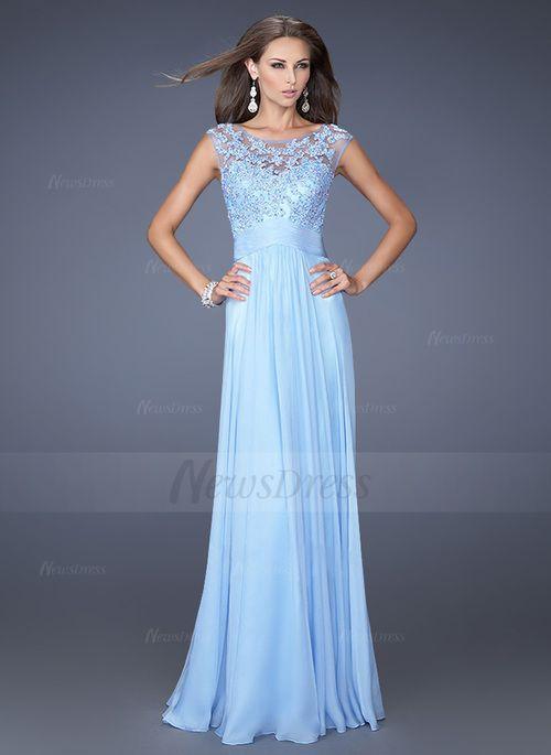 2014 Bateau Neckline Embellished Tulle Bodice With Beaded Applique Chiffon  - Stephanie's prom dress.