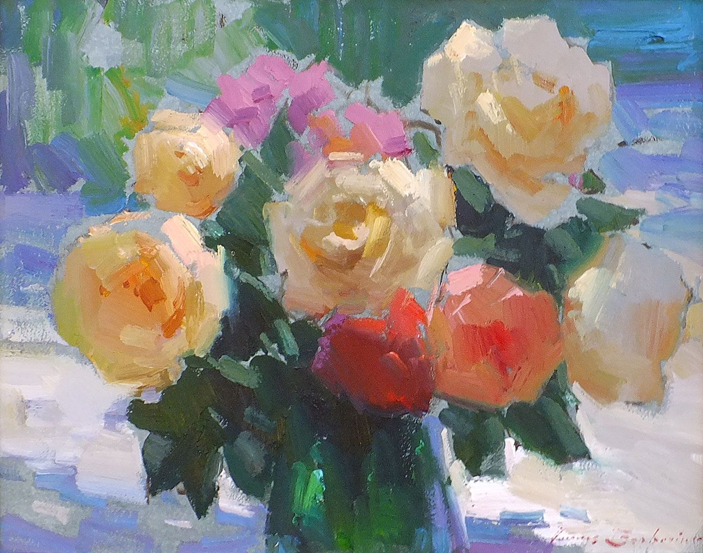 "Ovanes Berberian Oil Paintings Prices | Roses in Green Vase"" 16 x 20"" original framed oil"