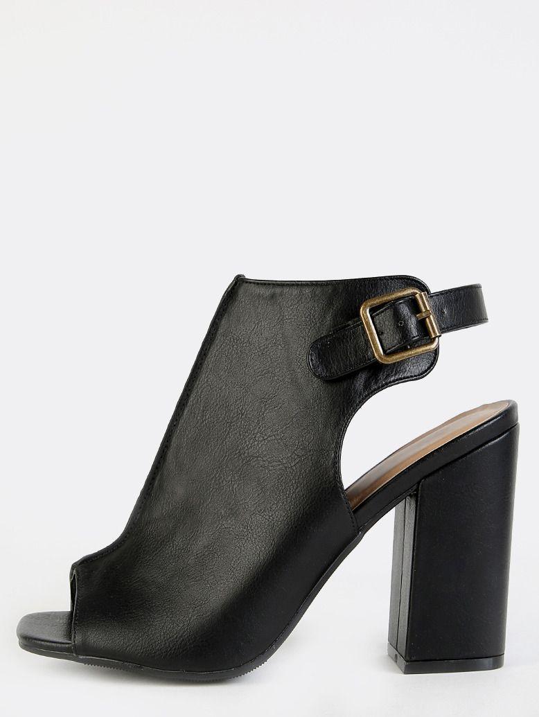 ddbcf71b2bc Chunky Heel Peep Toe Mule Boots BLACK