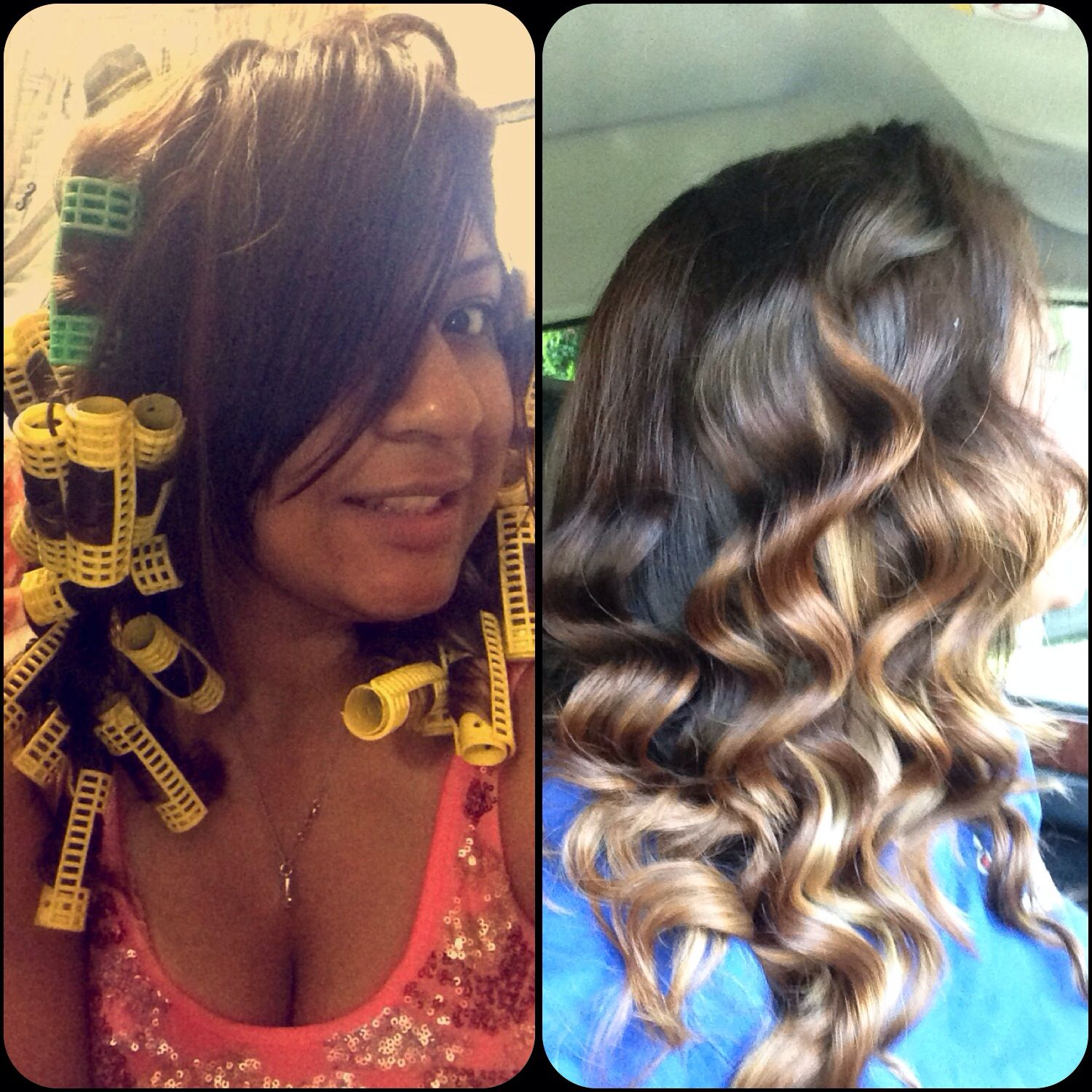 Simple and easy. No damage. Slept with rollers. #ombre #curls #healthy ❤️