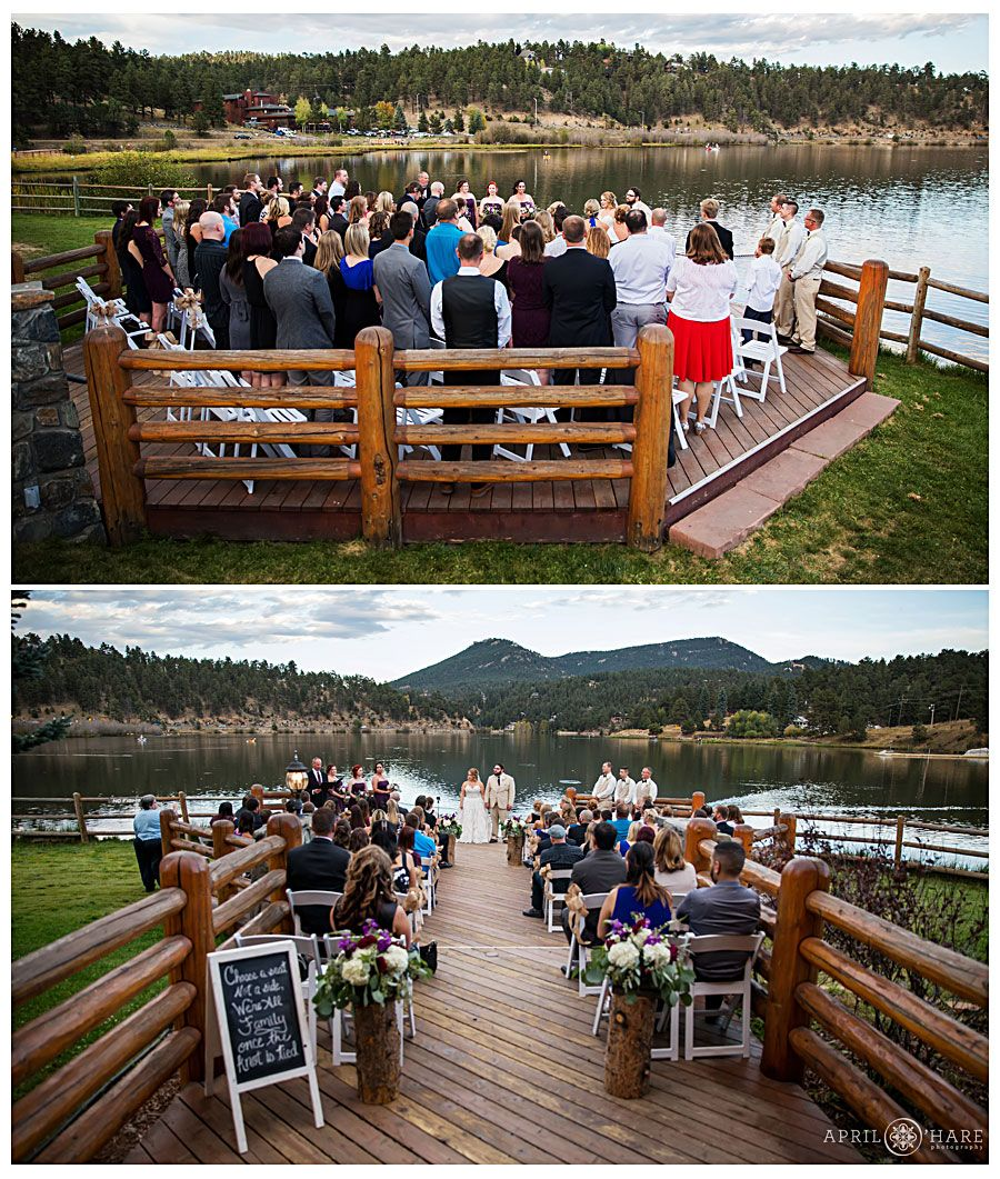 Wide view of the deck overlooking the lake at an outdoor fall ...