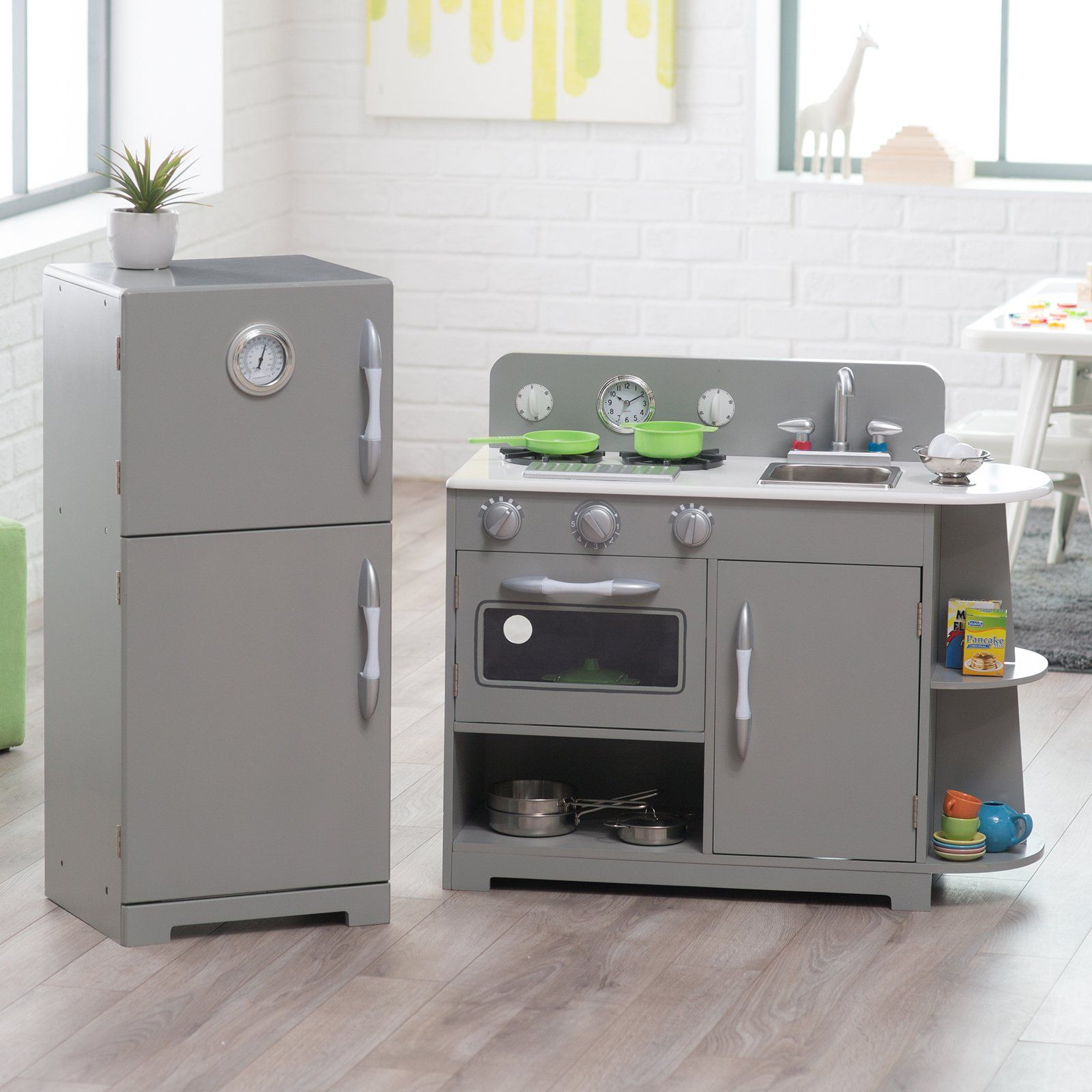 Classic wooden play kitchen set gray kids can cook up lots of creativity with the teamson kids 2 pc classic wooden play kitchen set gray